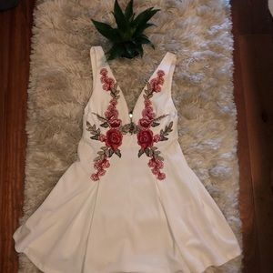 Rose embroidered white dress